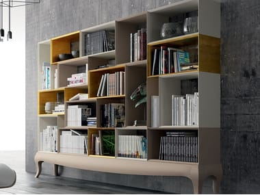 Open lacquered beech bookcase KUBUS