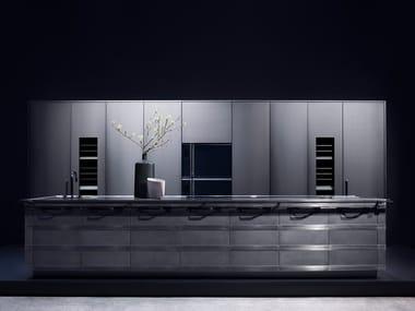 Stainless steel fitted kitchen with island KURKUM