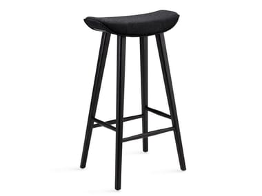 Fabric barstool with footrest KYA BARSTOOL WOODEN FRAME | Stool with footrest