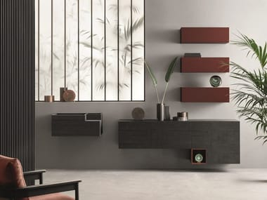 Sectional oak storage wall LEI | Composition L207