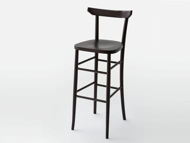 High wooden stool with back L60   Stool with back