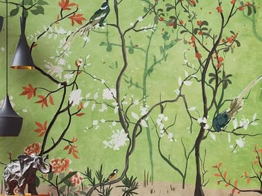 Oriental wallpaper, PVC free, eco, washable LA SELVA FIORITA