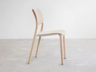Sedia in compensato in stile moderno con cuscino integrato con schienale aperto LACLASICA | Sedia con cuscino integrato