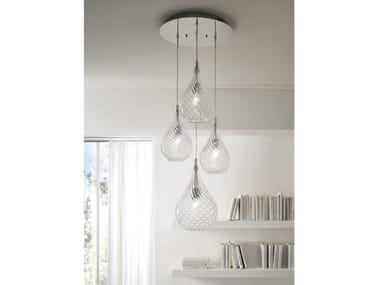 Lámpara colgante de vidrio soplado con luz directa LACRIMA | Lámpara colgante