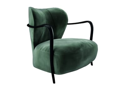 Upholstered leather armchair with armrests LADY BUG