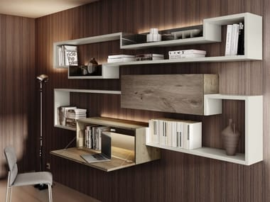 Sectional wooden bookcase with secretary desk LAGOLINEA | Bookcase with secretary desk
