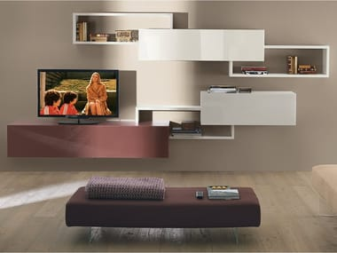 Sectional wall-mounted storage wall LAGOLINEA | Storage wall