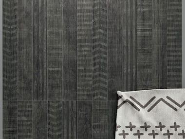 Porcelain stoneware wall/floor tiles with wood effect LAGOM COATED BLACK