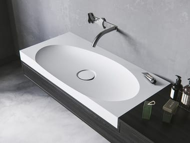 Oval Meridian Solid Surface® washbasin with integrated countertop LAGOON-01