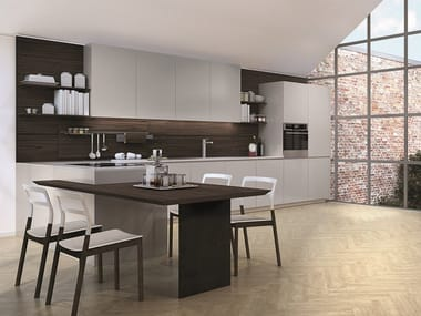 Lacquered fitted kitchen with peninsula LAIN | Kitchen with peninsula