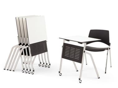 Folding HPL bench desk with castors LAKENDÒ | Bench desk