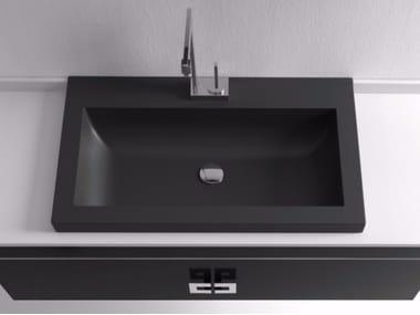 Lavabo da incasso soprapiano rettangolare singolo in Silexpol® LAMDA