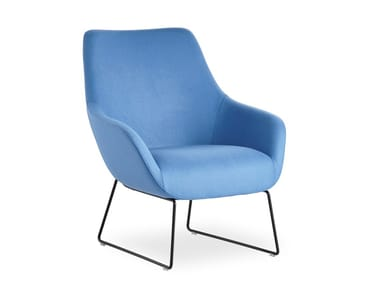 Sled base fabric armchair with armrests LAMY | Sled base armchair