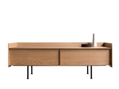 Wood veneer TV cabinet with doors LANDING | TV cabinet