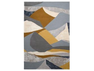 Patterned rectangular wool rug LANDSCAPE