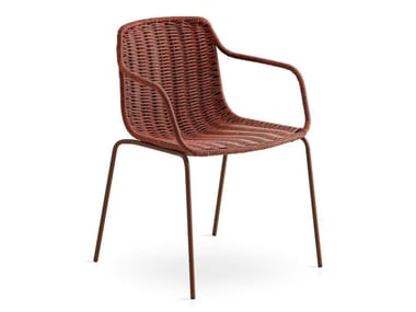 Stackable rope garden chair with armrests LAPALA | Chair with armrests