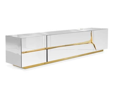 Mirrored glass TV cabinet with drawers LAPIAZ | TV cabinet