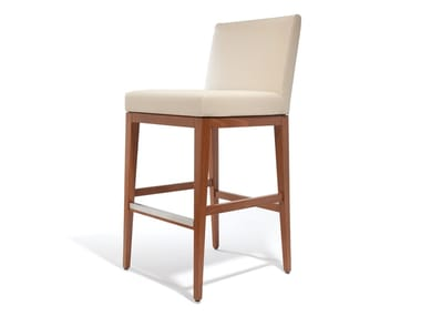 Leather stool with footrest LARA | Stool