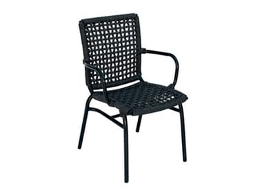 Synthetic fibre garden chair with armrests LARA WEAVING | Chair with armrests
