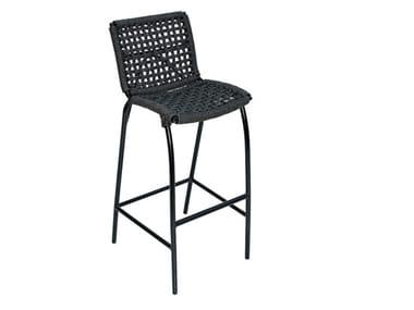 Synthetic fibre garden stool with back LARA WEAVING | Stool