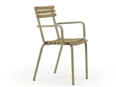 Stackable teak garden chair LAREN | Chair with armrests