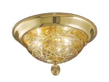 Plafoniera oro zecchino sfumato con cristallo ambra LARISSA 4500/PLP