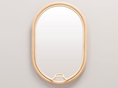 Oval wall-mounted framed rattan mirror LASSO | Oval mirror