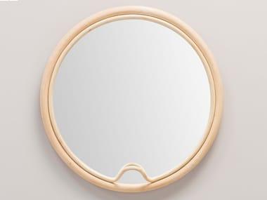 Round wall-mounted framed rattan mirror LASSO | Round mirror