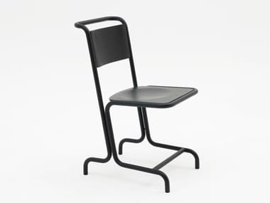 Steel and wood chair with footrest LASZLO