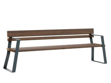 Steel and wood Bench with back LATTLAUD MINIMAL