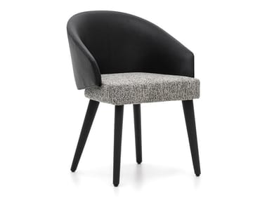 Upholstered leather chair with armrests LAWSON | Chair with armrests