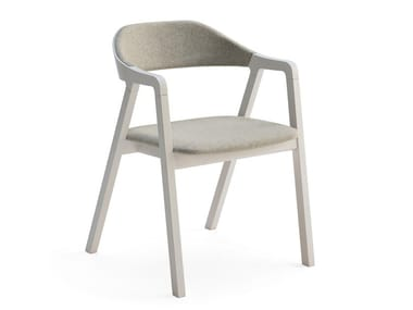 Upholstered ash chair with armrests LAYER | Chair with armrests