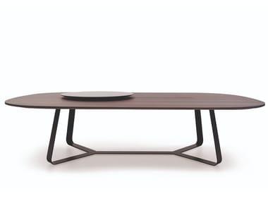 Tavolo ovale in acciaio e legno con Lazy Susan LAZY SUZY