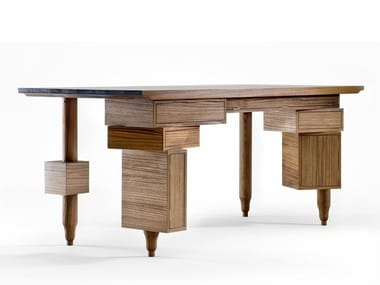 Rectangular teak writing desk with drawers LE BUREAU DE PAOLO