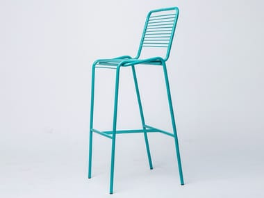 High metal stool with back LETUBE | Stool with back