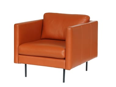 Upholstered leather armchair with armrests LEAF | Armchair