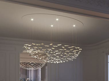 LED porcelain pendant lamp LEAF FALL LARGE ELLIPSE