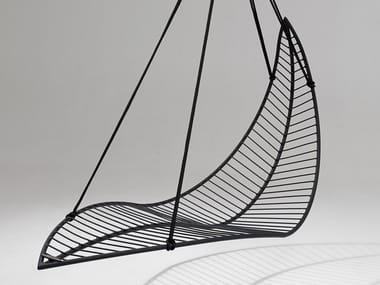 1 Seater powder coated steel garden hanging chair LEAF | Garden hanging chair