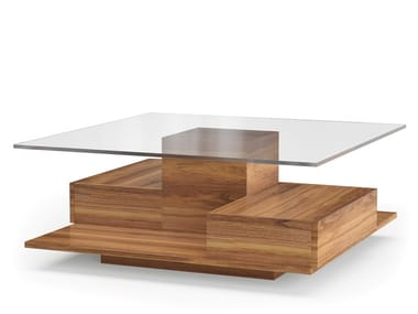 Square wood and glass coffee table LEGO