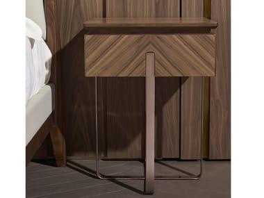 Rectangular walnut bedside table with drawers LEONARDO L114N/M | Bedside table