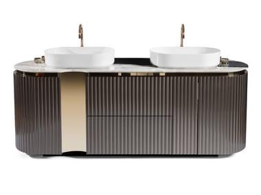 Floor-standing double wooden vanity unit LEONARDO | Vanity unit
