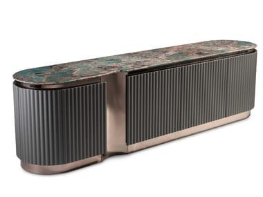 Steel and wood sideboard with doors LEONARDO