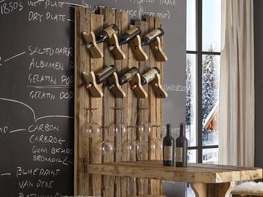 Wall-mounted wooden bottle rack LEONE | Bottle rack