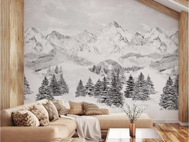 Panoramic landscape non-woven paper wallpaper LES CIMES BLANCHES