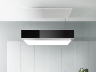 Cappa a carboni attivi ad isola in acciaio inox con illuminazione integrata LEVANTE