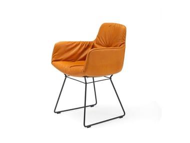 Sled base leather chair with armrests LEYA ARMCHAIR HIGH