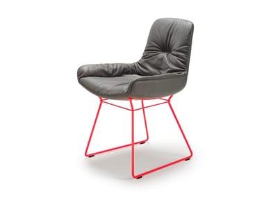 Sled base leather chair LEYA ARMCHAIR LOW