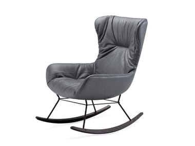 Wing leather armchair with armrests LEYA ROCKING WINGBACK CHAIR