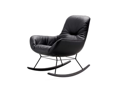 Rocking leather armchair with armrests LEYA ROCKING LOUNGE CHAIR