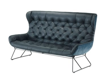Tufted 3 seater leather sofa LEYA WINGBACK COUCH